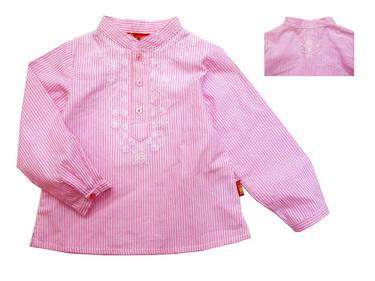KGB217L Kidsplanet เสื้อเด็กหญิง เชิ้ตแขนยาวคอจีน ลายริ้วสีชมพู ปักลายดอกไม้ท่อนบนและกลางหลัง เหลือ Size 3Y