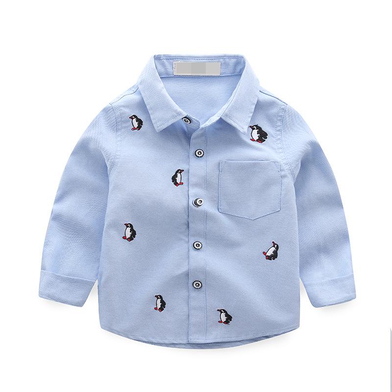 เสื้อเชิ้ตแขนยาวสีฟ้าลายเพนกวิน [size 1y-2y-3y-4y-5y]