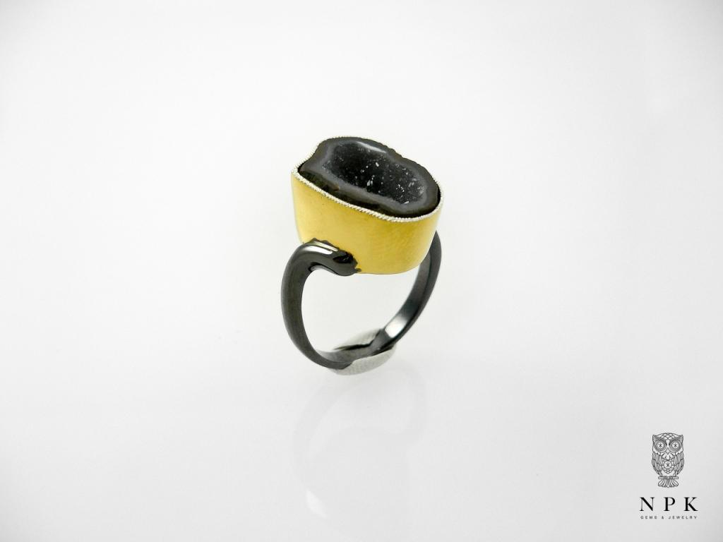 แหวนพลอย Tabasco Geode Silver Ring gild with Gold and Black Rhodium