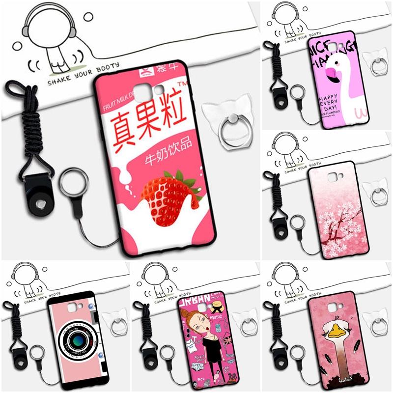 เคส Samsung A9 Pro ซิลิโคน soft case สกรีนลายการ์ตูนน่ารักๆ พร้อมสายคล้องและแหวน ราคาถูก