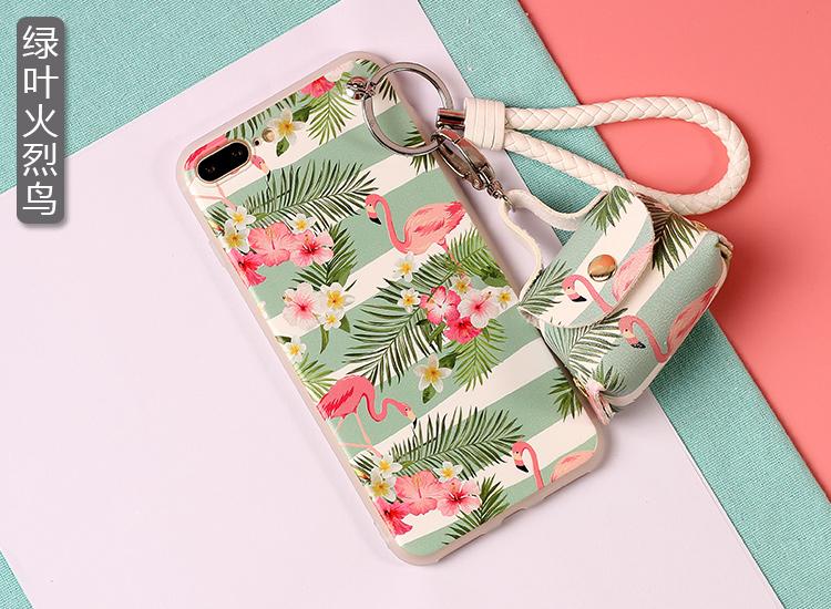เคส iPhone 7 Plus (5.5 นิ้ว) พลาสติก TPU ลายนกฟลามิงโกน่ารักมากๆ พร้อมสายคล้องมือและกระเป๋าเก็บสายหูฟัง ราคาถูก