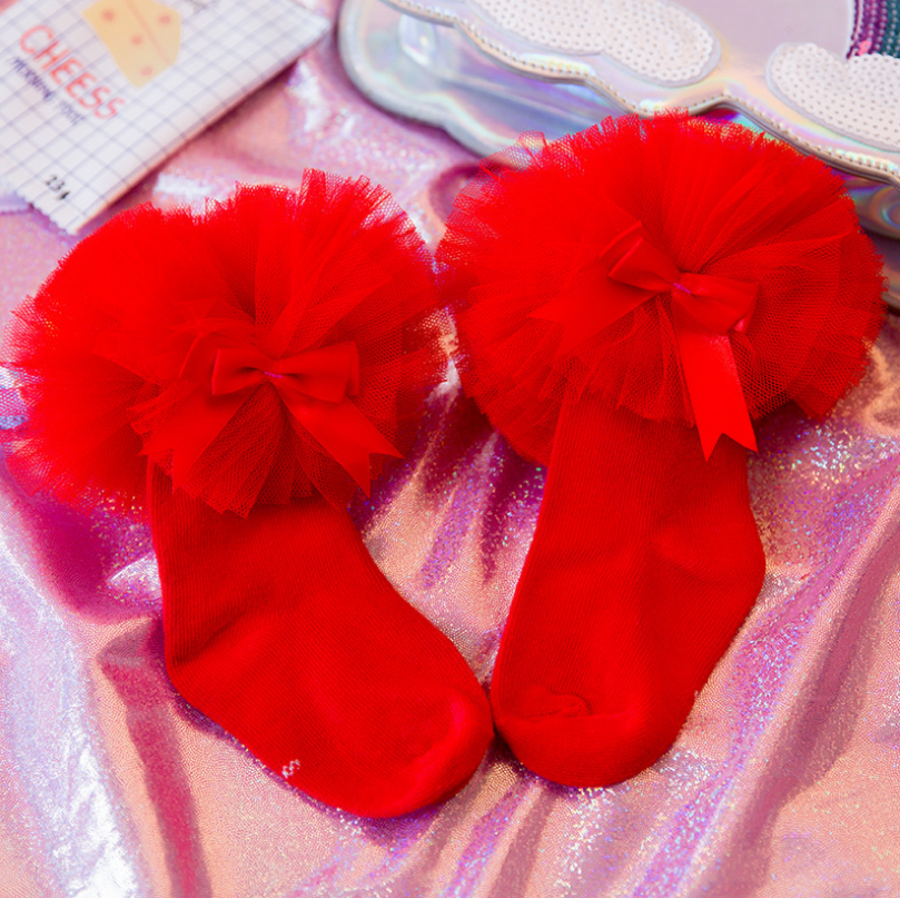 ถุงเท้าสั่ง สีแดง แพ็ค 6 คู่ ไซส์ M (ประมาณ 3-5 ปี)