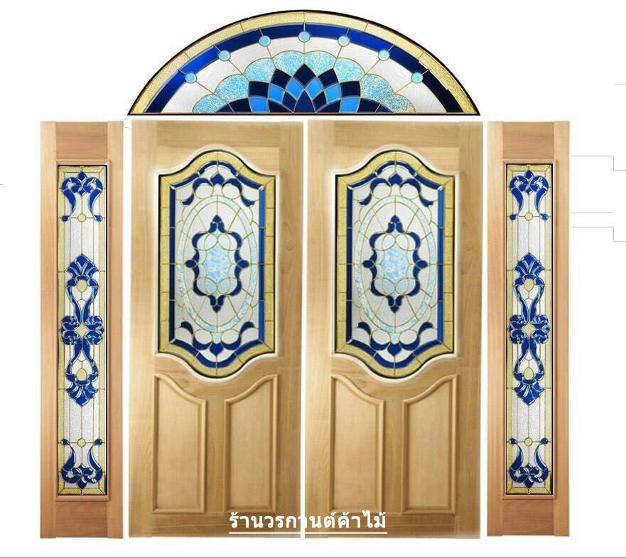 กระจกนิรภัยสเตนกลาส สีน้ำเงิน ชุด5ชิ้น รหัส G22