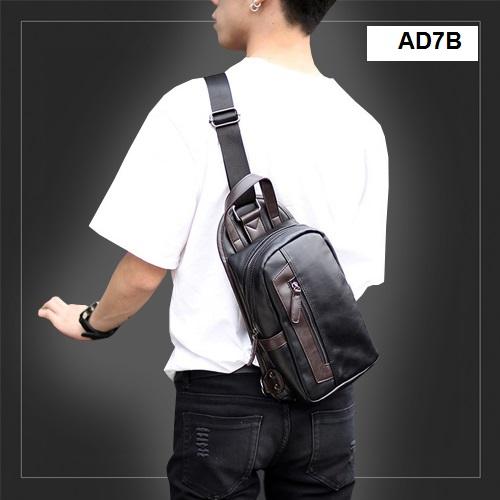 AD7B กระเป๋าสะพายไหล่ กระเป๋าคาดอก หนัง PU สีดำ