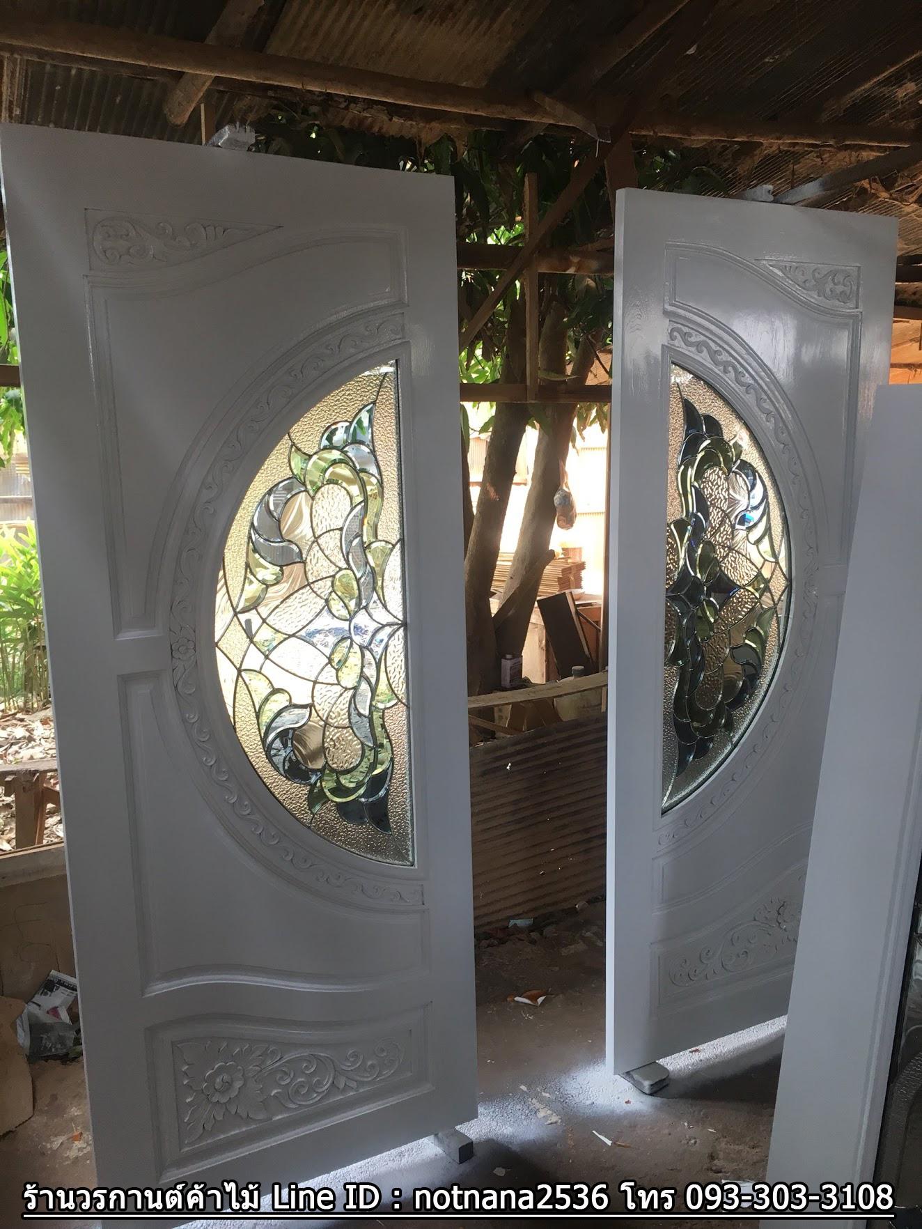 ประตูไม้สักกระจกนิรภัย สีขาว เกรดA รหัส AAN05
