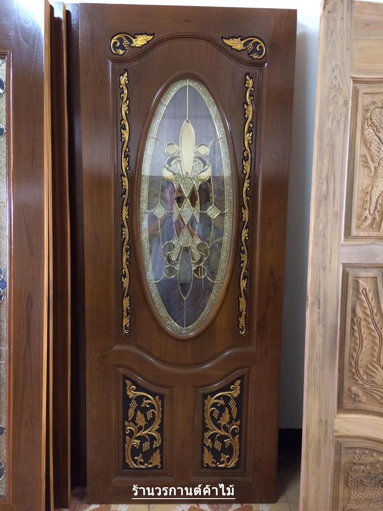 ประตูไม้สักกระจกนิรภัยวงรี แกะองุ่น เกรดA รหัส A89