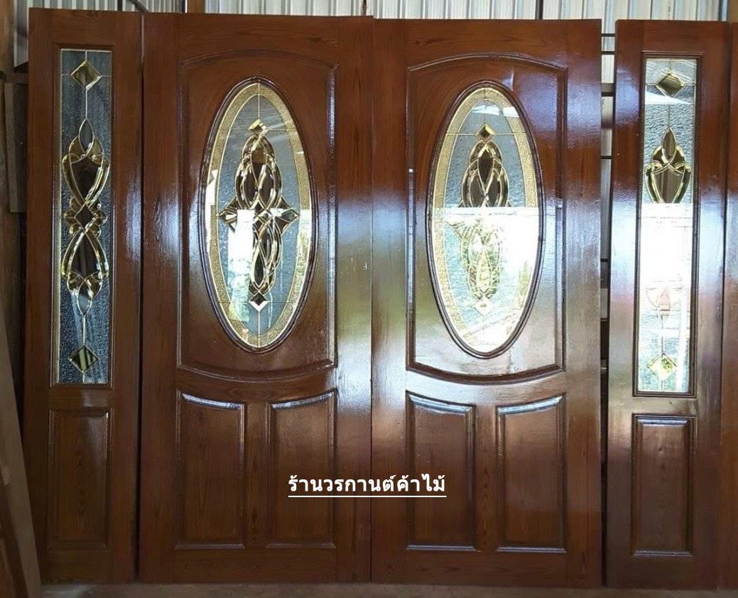 ประตูไม้สักกระจกนิรภัยวงรี ชุด4ชิ้น รหัสAAA58