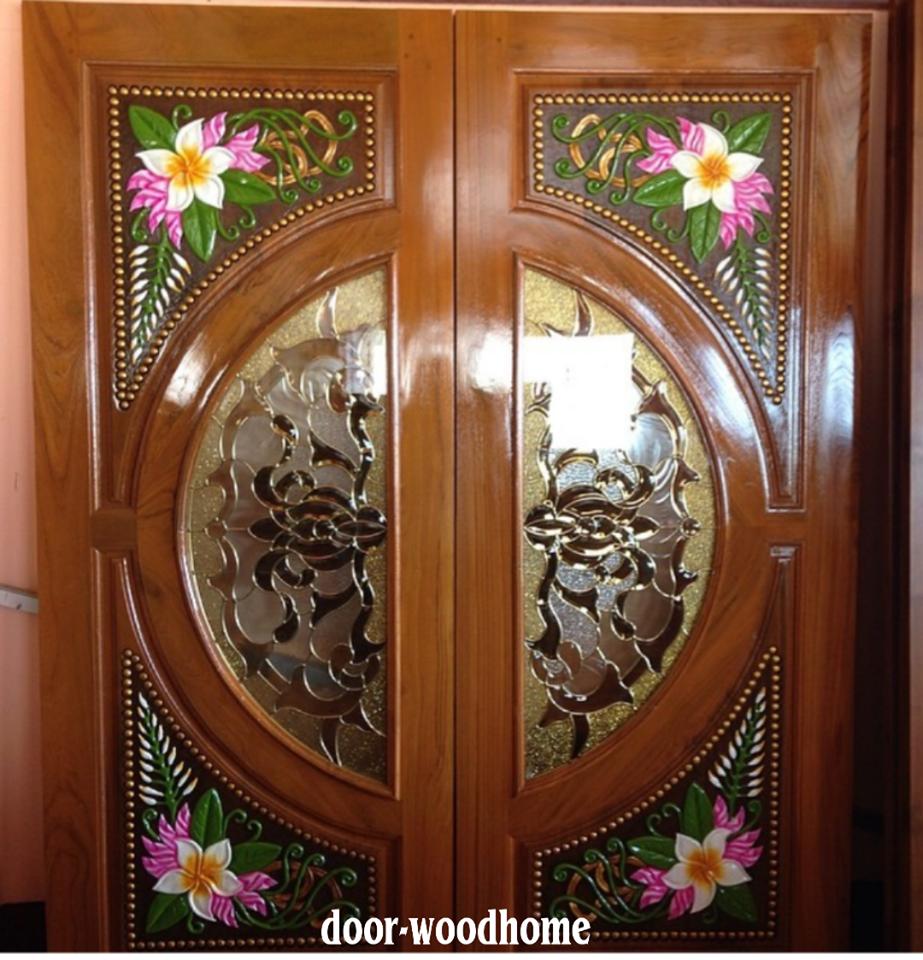 ประตูไม้สักกระจกนิรภัย แกะดอกไม้ เกรดA รหัส A33