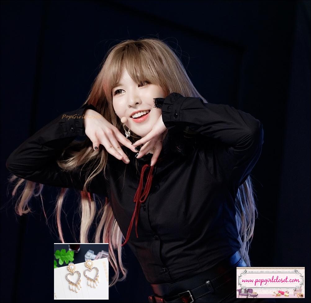 ต่างหูแฟชั่นสไตล์เกาหลี ห่วงหัวใจคริสตัลห้อยมุกระย้า Love Heart Charm Pearl Drop Dangle Earrings
