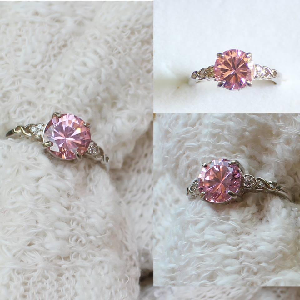 แหวนคริสตัลธรรมชาติ Pink Spinel