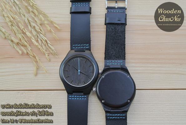 WoodenChroNos นาฬิกาข้อมือไม้สลักข้อความ สายหนัง WC110-3