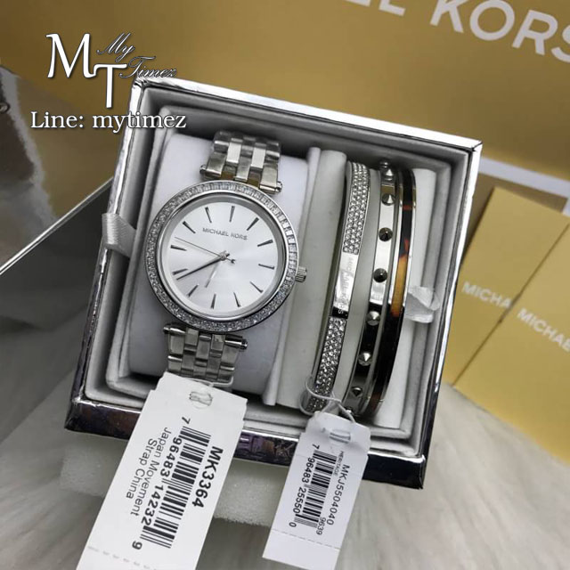 MICHAEL KORS Petite Darci Silver Dial Steel Ladies Watch MK3364 + Bracelet Set