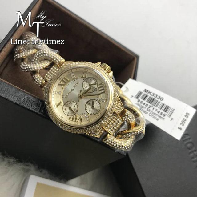นาฬิกาข้อมือ MICHAEL KORS รุ่น Mini Camille Champagne Dial Crystal Encrusted Ladies Watch MK3330