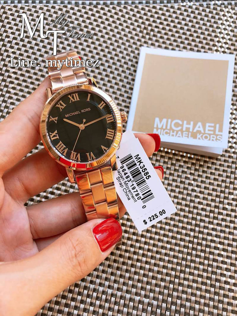 นาฬิกาข้อมือ MICHAEL KORS รุ่น Norie Black Dial Ladies Rose Gold Tone Watch - MK3585