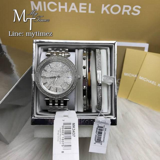 MICHAEL KORS Darci Crystal Pave Dial Stainless Steel Ladies Watch MK3437 + Bracelet Set
