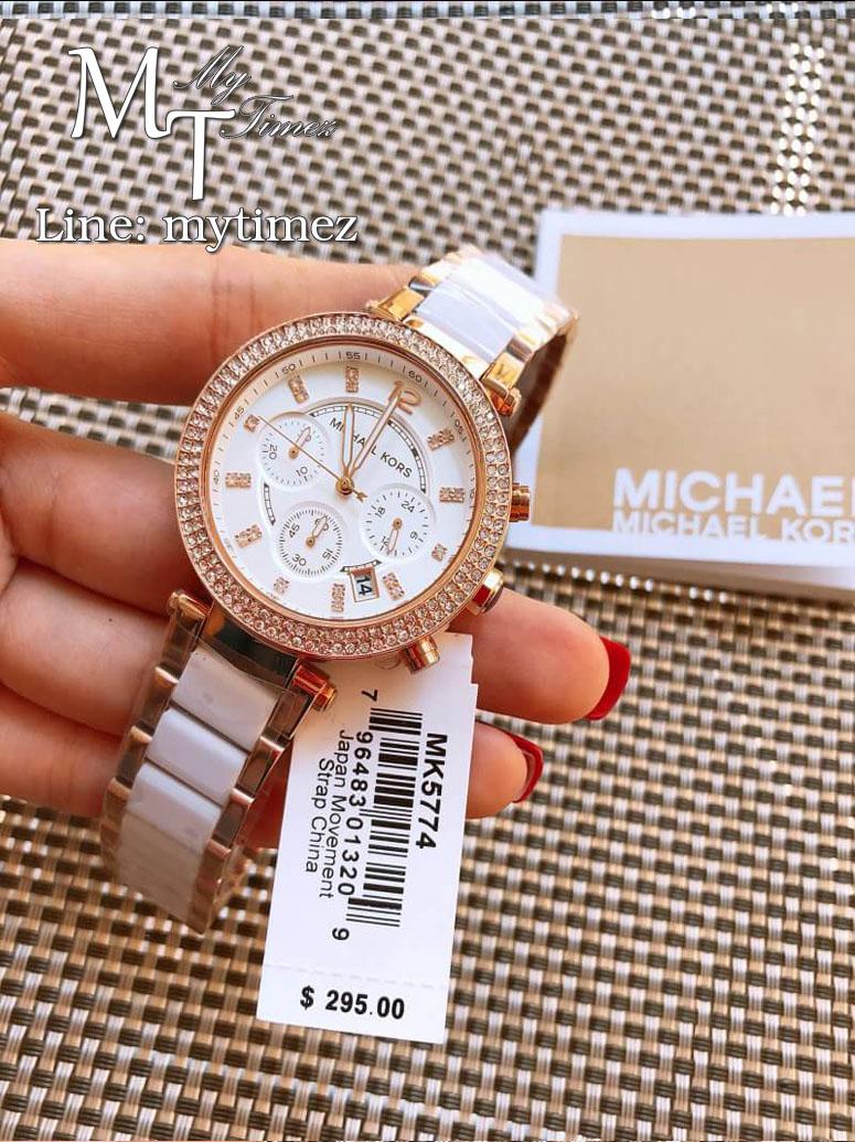 นาฬิกาข้อมือ MICHAEL KORS รุ่น Parker Chronograph White Dial Ladies Watch - MK5774