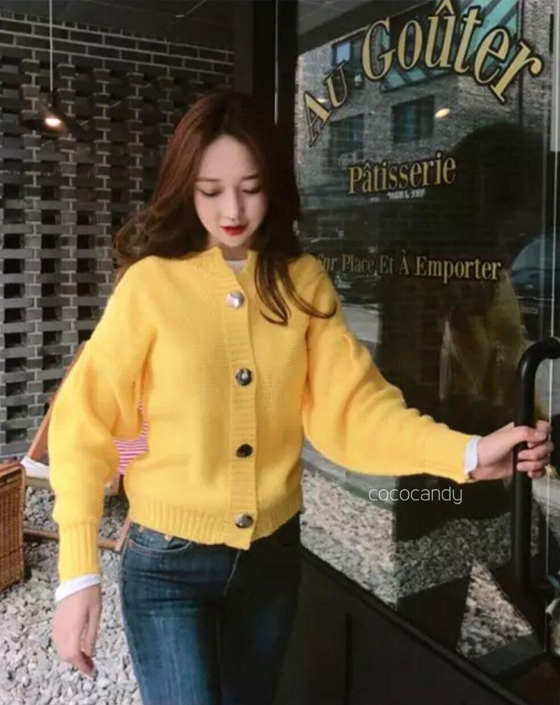 คาดิแกนไหมพรม Korea Balloonsleeves Knit Cardigan