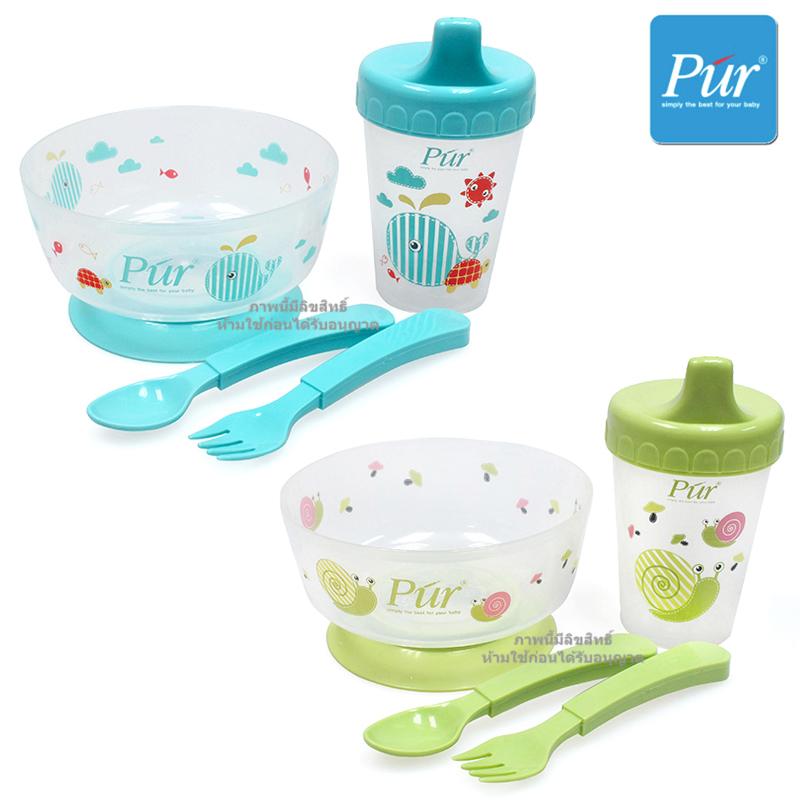 ชุดชามหัดทานอาหารพร้อมถ้วยหัดดื่ม Pur Weaning Set