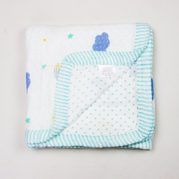 BBP003-สีฟ้า ผ้าห่มมัสลินแบมบู พรี่เมี่ยม (4 layer)
