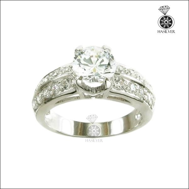 แหวนเงินแท้ ชุบทองคำขาว ประดับเพชรCZ H&A นำเข้าจากอเมริกา