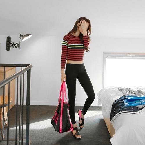ชุดว่ายน้ำแขนยาว+กางเกงขายาว+เสื้อกล้ามเอวลอยสีดำ+บิกินี่ เซ็ต 4 ชิ้น (ส้ม-ดำ)