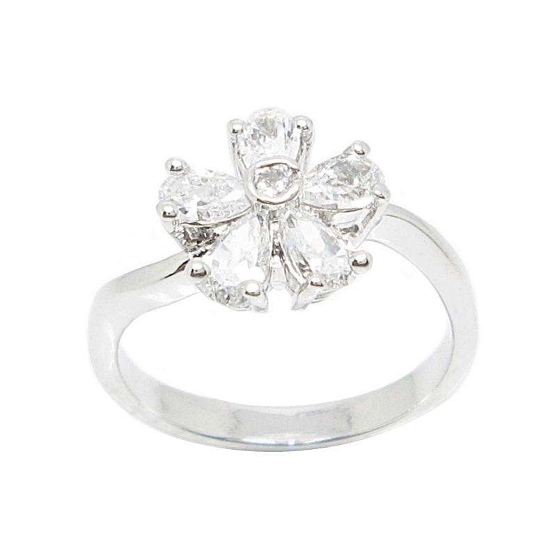 แหวนดอกไม้ประดับเพชรชุบทองคำขาว