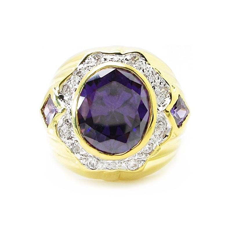 แหวนผู้ชายพลอยอเมทิสประดับเพชรล้อมชุบทอง