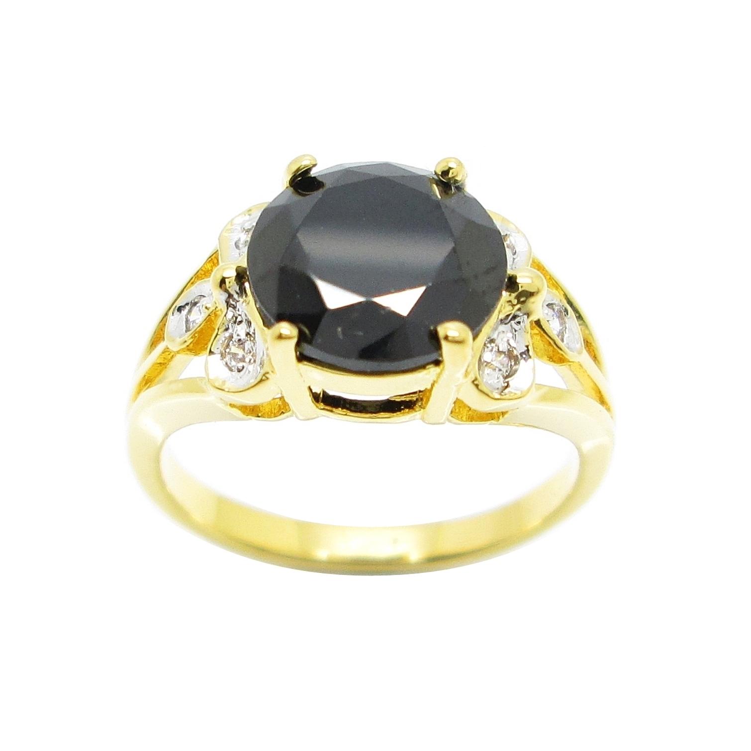 แหวนพลอยสีนิลประดับใบไม้เพชรจิกไข่ปลาชุบทอง