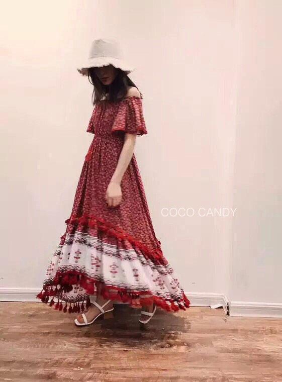 ชุดแม็กซี่เดรส Partysu Off-Shoulder Flora Maxi Dress