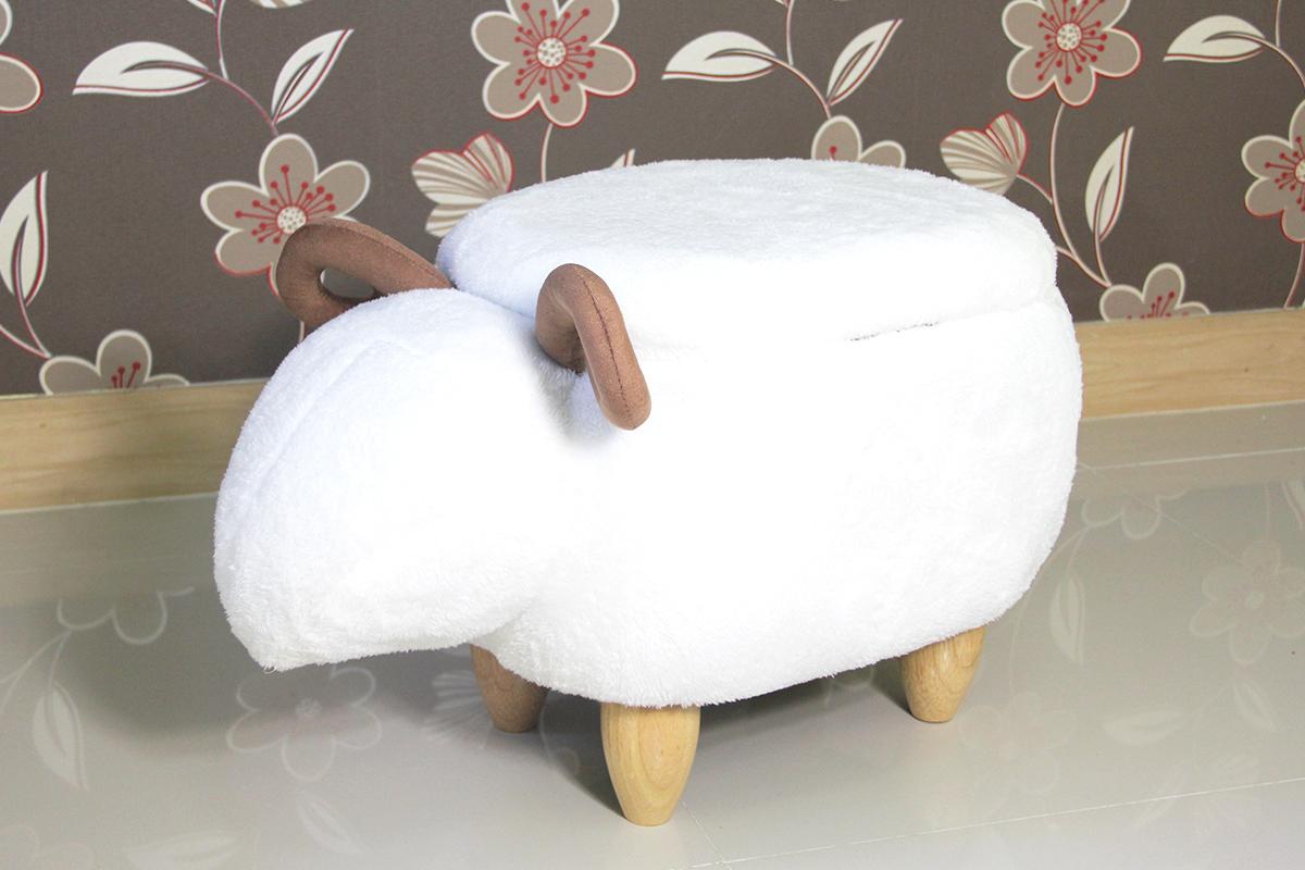 เก้าอี้เก็บของได้รูปแพะ สีขาว