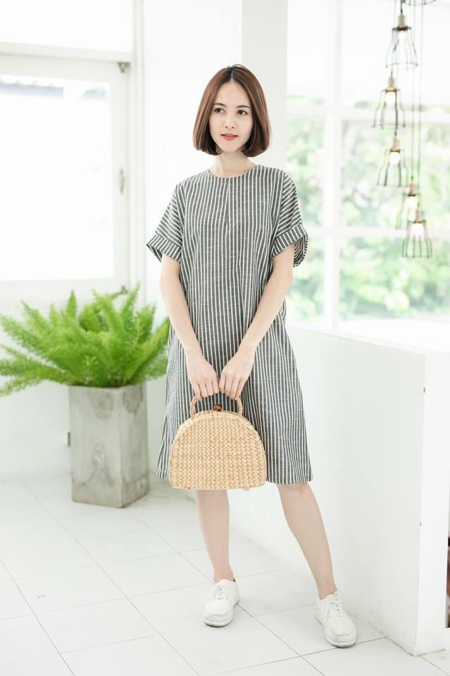Kiara Dress (Cotton Linen Fabric)_Gray Stripe
