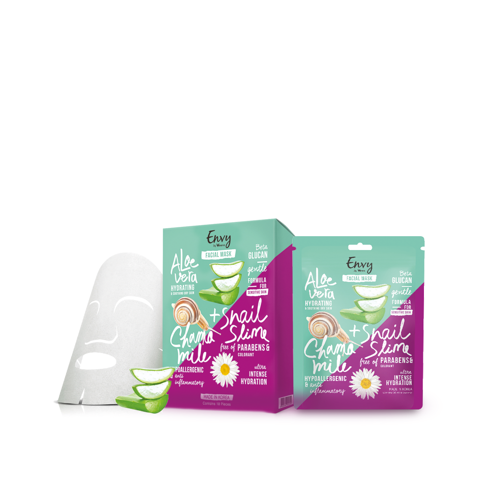 Envy Aloe Vera Snail Slime and Chamomile Facial Mask 1 กล่อง