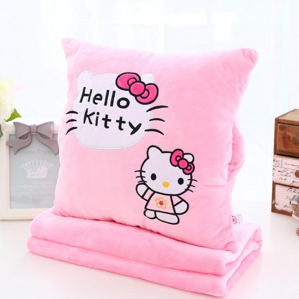หมอนผ้าห่มลายการ์ตูนคิตตี้สีชมพู