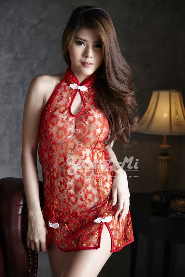 ชุดนอนจีนวิ้งวิ้งสีแดง(5338) (L / XL / XXL)