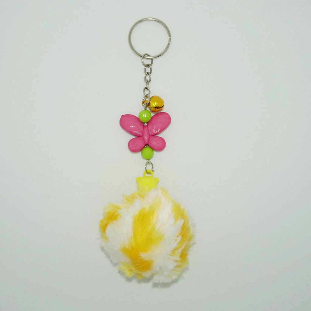 พวงกุญแจปอมปอมขนาดเล็ก สีเหลืองคาดขาว 12อัน
