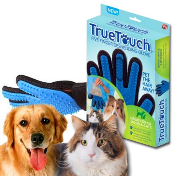 ถุงมือแปรงขนสัตว์ true touch สีน้ำเงิน