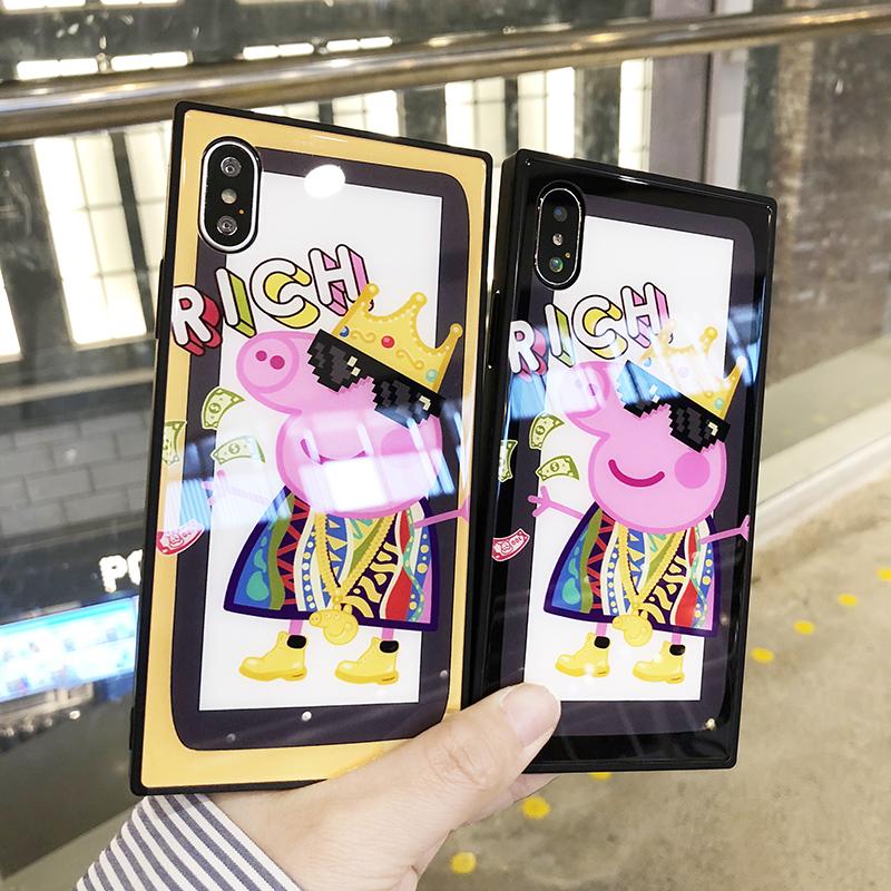 (633-016)เคสมือถือไอโฟน Case iPhone7/iPhone8 เคสนิ่มพื้นหลังกระจกลาย Piggy Rich