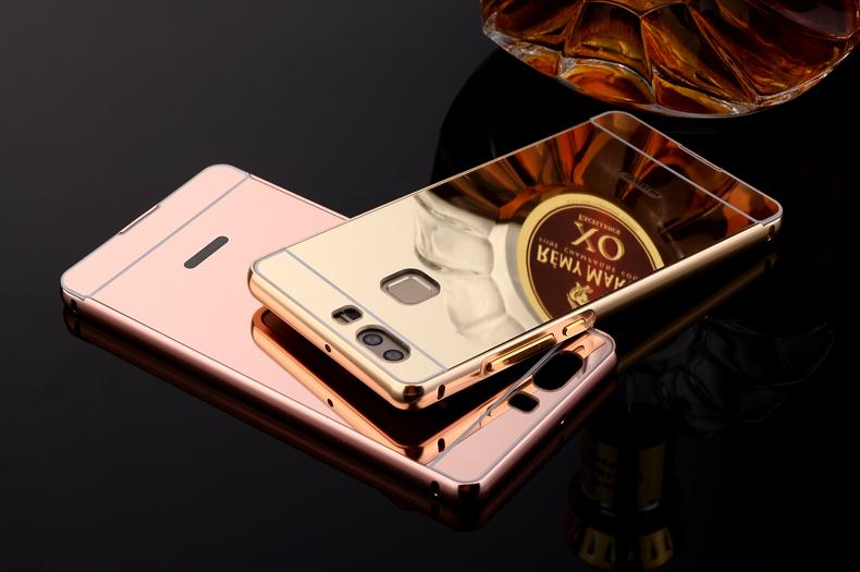 (025-1151)เคสมือถือ Case Huawei P9 เคสกรอบบัมเปอร์โลหะฝาหลังอะคริลิคแววกึ่งกระจก