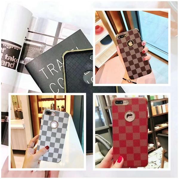 (436-334)เคสมือถือไอโฟน Case iPhone 7 Plus/8 Plus เคสพลาสติกลายสก๊อตขอบทอง