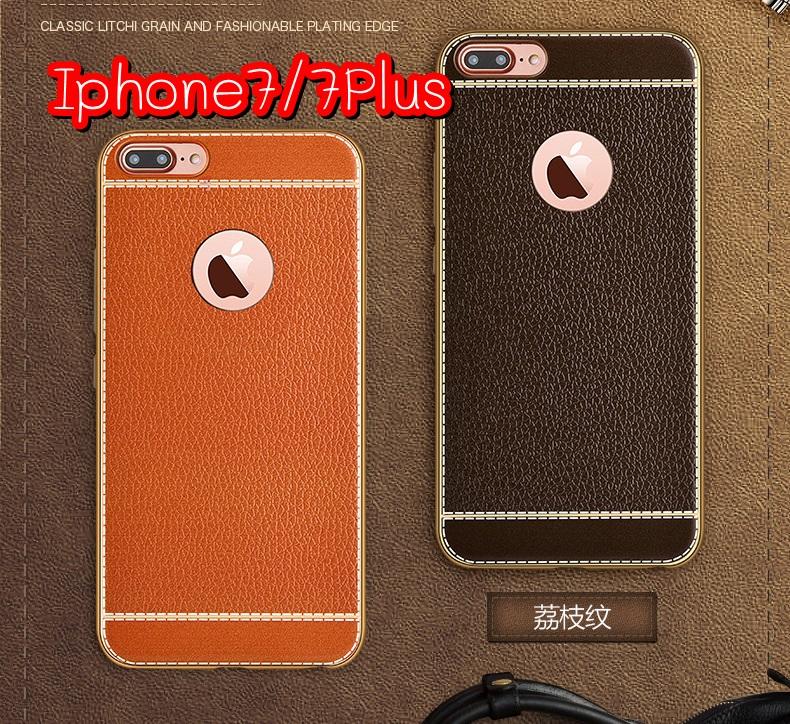 (025-309)เคสมือถือไอโฟน Case iPhone 7 Plus เคสนิ่มขอบชุบแววพื้นหลังลายหนัง