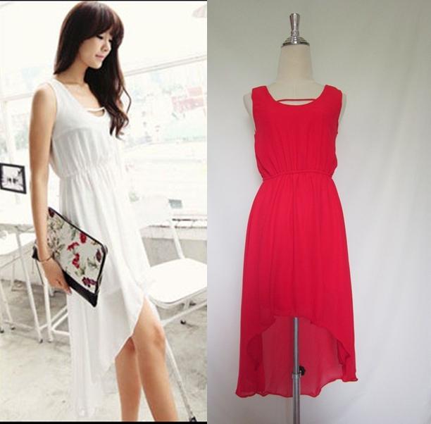 (สีแดง)ชุดเดรสแซกสั้นแฟชั่นเกาหลี หน้าสั้นหลังยาว ผ้าชีฟอง คอกลม แขนกุด เอวยางยืด มีซับใน (ใหม่ พร้อมส่ง) ร้าน Ladyshop4u
