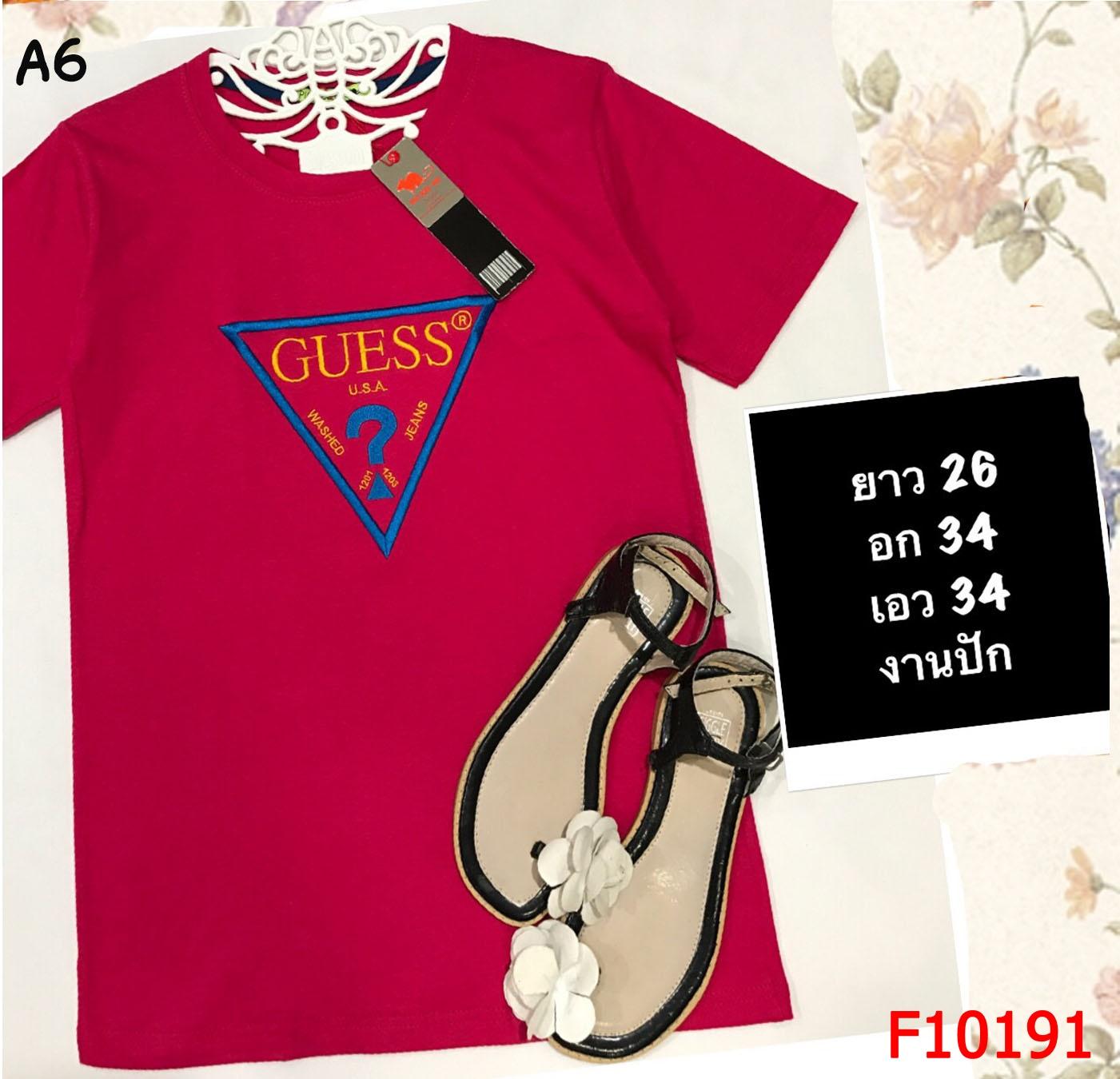 F10191 เสื้อยืดคอกลม แขนสั้น ปักลาย GUESS สีแดงสด