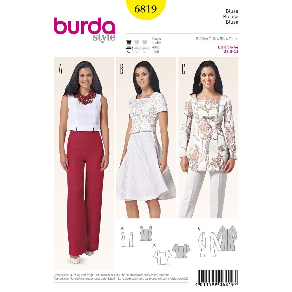 แพทเทิร์นตัดเสื้อครอป ทูนิค เก๋ๆ ยี่ห้อ Burda Style (6819) ไซส์: 8-10-12-14-16-18