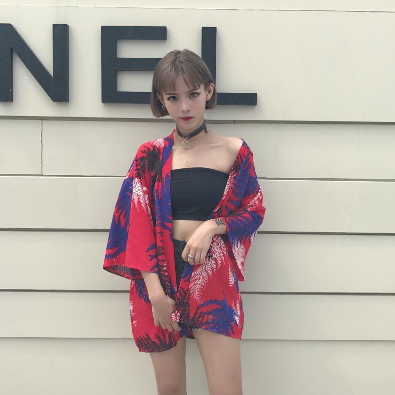 *Pre Order*Cardiganเสื้อคลุมสไตล์กิโมโนญี่ปุ่น one size สีแดง/เขียว