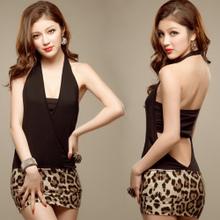 fo024 ชุดแฟนซี ชุดออฟฟิส ชุดแซกตัวเสื้อสีดำ กระโปรงลายเสือ ผ้านิ่มยืดคะ