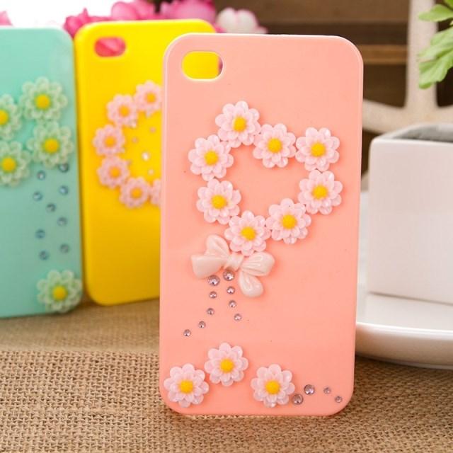 เคสไอโฟน 4/4s เคสไอโฟนกรอบชมพูดอกไม้หัวใจ