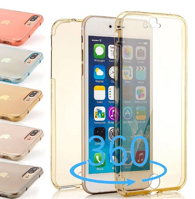 เคสไอโฟน 6Plus/6sPlus (เคสนิ่มประกบ) ป้องกัน 360 องศา สีทองใส