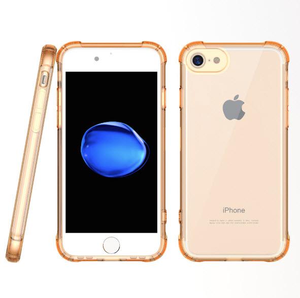 เคสไอโฟนรุ่นปกป้องกล้อง Premium (ขอบยาง หลังพลาสติกแข็ง ป้องกันเคสเหลือง) Iphone 7 (ขอบทอง หลังใส)