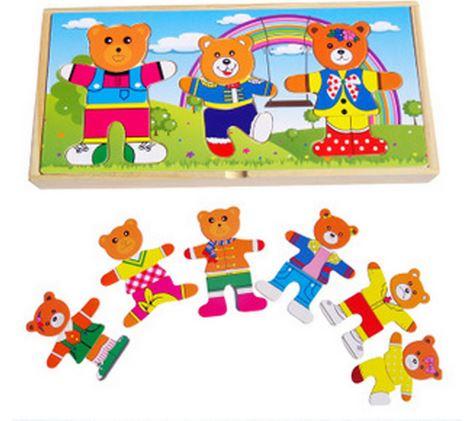 ของเล่นเสริมพัฒนาการ กล่องไม้แต่งตัวตุ๊กตาครอบครัวหมี