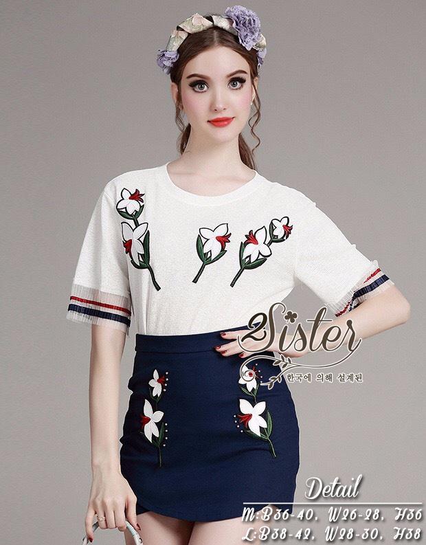 ชุดเซทแฟชั่น เซ็ตเสื้อ+กระโปรงใส่เข้าชุดกัน ตัวเสื้อผ้า polyester แต่งเย็บลายดอกไม้สวย
